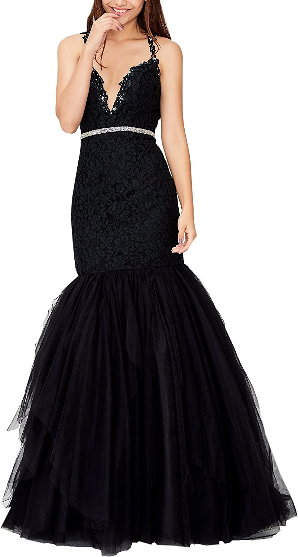 Heartgown Women's V Neck Beaded Lace Mermaid Wedding Dress Strap Elegant Prom Dresses