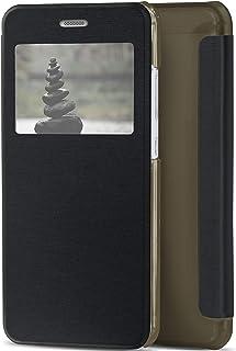 MoEx® Funda Protectora abatible con Ventana Transparente Compatible con Huawei P10 | Noir