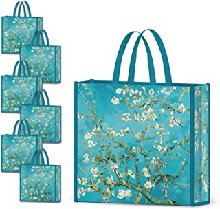 NymphFable 6 Pack Grocery Bags Reusable Almond Blossoms Shopping Bags Waterproof Tote Bag Gift bags 50LBS