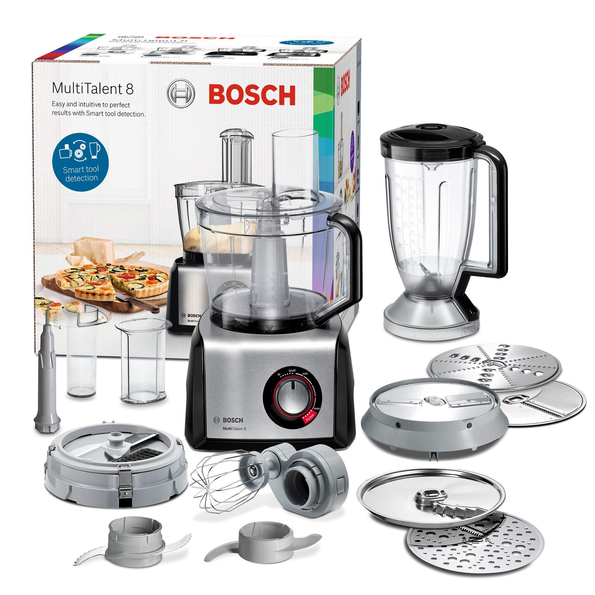 Bosch MC812M865 MultiTalent - Robot de cocina compacto (1250 W, bol XXL de 3,9 l, cortador de cubos, negro/acero inoxidable cepillado): Amazon.es: Hogar