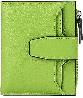 3c7a3f40e336 AINIMOER Women's RFID Blocking Leather Small Compact Bi-fold Zipper Pocket  Wallet Card Case Purse with id Window