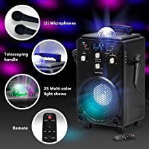 Professional Karaoke Machine for Adults and Kids - Singsation Bravo All-In-One Portable Karaoke System - Voice, Sound & Light Effects, 2 Karaoke Mics, Room-Filling Light Show & Works w/Bluetooth