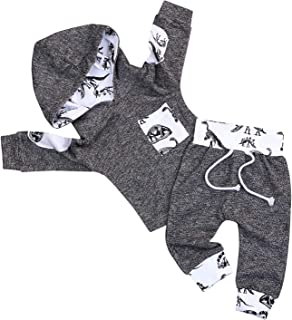 SEVEN YOUNG Kid Toddler Baby Boy Hoodie Outfit Camouflage Plaid Pocket Sweatshirt Jackets Shirt+ Pants Clothes Set