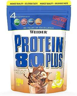 WEIDER Protein 80 Plus protéine en poudre, Nougat Noisette, faible teneur en glucides, mélange de lactosérum de caséine mu...
