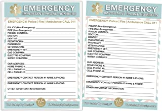 """TLC Safety By Design Emergency Contact Cards in Magnetic Sleeve Home Alone 5"""" x 7"""" Doctor Approved Refrigerator Safety Important Phone Numbers Call List"""