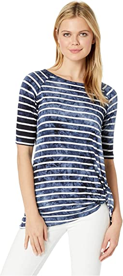 Printed Jersey Elbow Sleeve Crew Neck Top w/ Knot