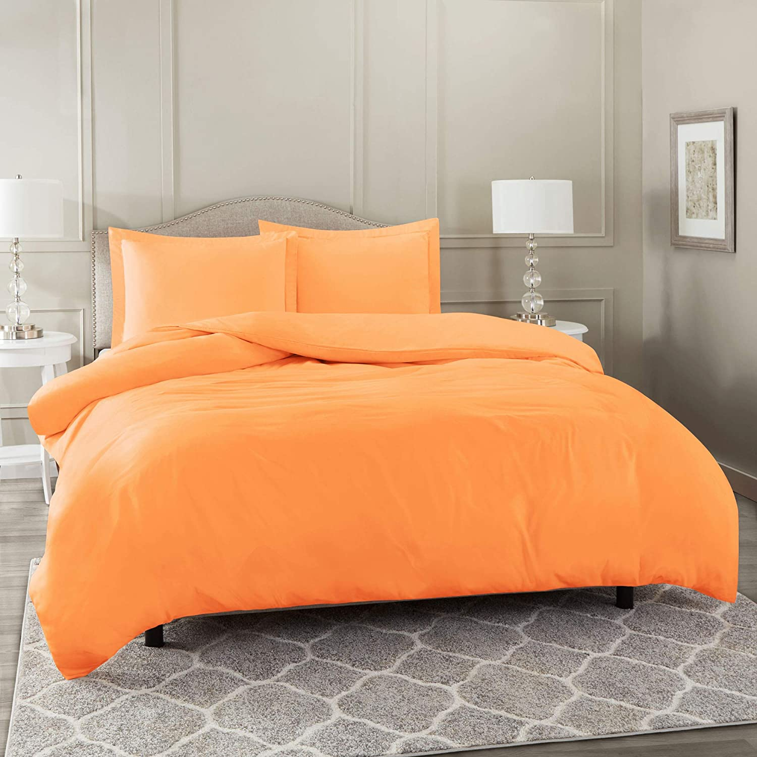 "Nestl Bedding Duvet Cover 3 Piece Set – Ultra Soft Double Brushed Microfiber Hotel Collection – Comforter Cover with Button Closure and 2 Pillow Shams, Light Orange - Queen 90""x90"""