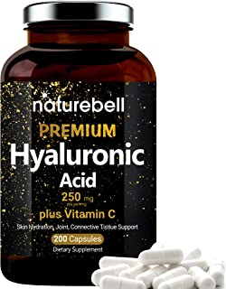 NatureBell Hyaluronic Acid Supplements, 250mg Hyaluronic Acid with 25mg Vitamin C Per Serving, 200 Capsules, Supports Skin...