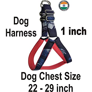 ADIOS Dog Belt 1 inch Designer Padded Blue Dog Body Harness Adjustable Chest Size 22-29 inch Dog Body Harness for Your Pet Dogs.