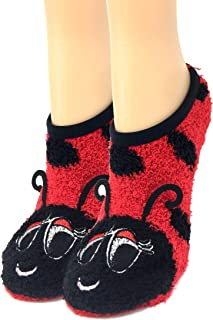 OoohYeah Women's Animal Mary Janes Lady Lady Bug Sock Slippers One Size