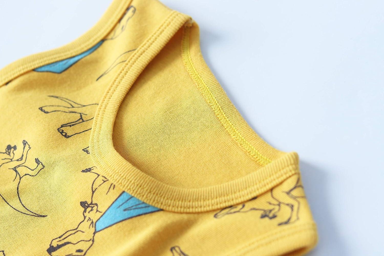 Huaer) Toddler Boys' 2-3 Pack Tank Tops (Yellow Dinosaur, 3T)