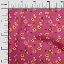 oneOone Velvet Pink Fabric Leaves & Flowers Floral Sewing Fabric by The Yard Printed DIY Clothing Sewing Supplies 58 Inch ...