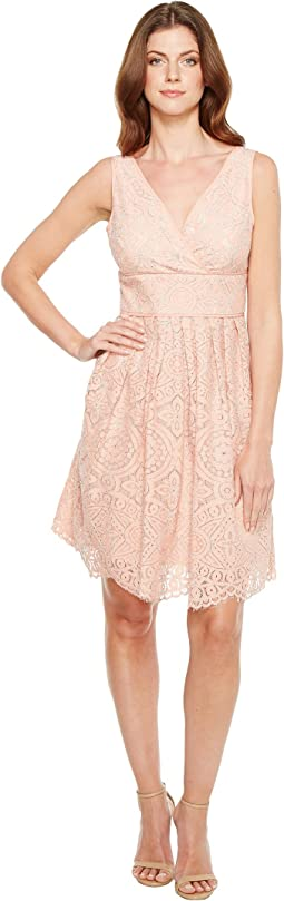 Ella Mosaic Lace V-Neck Fit and Flare Sleeveless Dress