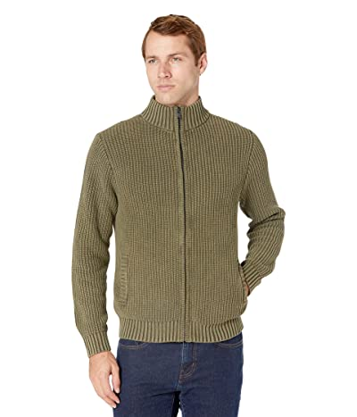 Lucky Brand Washed Full Zip Mock Neck Sweater (Ivy Green) Men