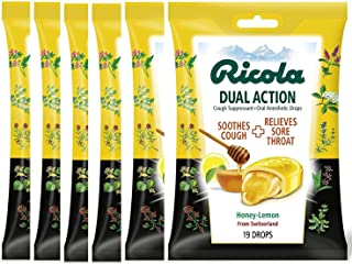 RICOLA Dual Action Honey Lemon Cough and Throat Drops, 19 Count (Pack of 6)