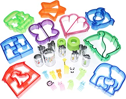 Set of 29 Sandwich, Cheese, Vegetable Cutters and Animal Picks for Kids