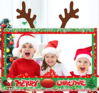 Christmas Photo Booth Props Frame Xmas Holiday Winter Party Decorations Supplies Assembly Needed