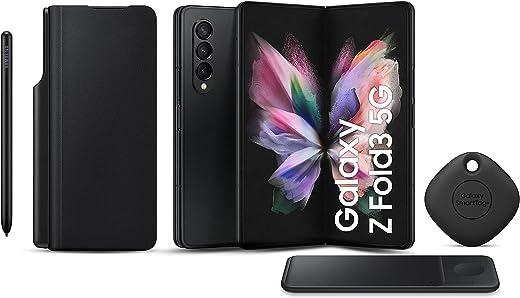 هاتف سامسونج جالاكسي زد فولد3 ثنائي الشريحة - 256 جيجابايت، 12 جيجابايت رام، 5G، أسود (نسخة KSA ) + شاحن لاسلكي ثلاثي + غطاء قلاب لسامسونج مع S Pen + بطاقة سامسونج سمارت