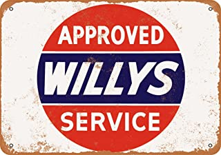 9 x 12 Metal Sign - Approved Willys Service - Vintage Look