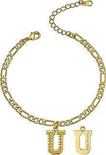 GoldChic Jewelry Cavigliera Lettera d'Oro Per Donne Ragazze, Bracciale Alla Caviglia Con Nome Personalizzato Con Catena Fi...