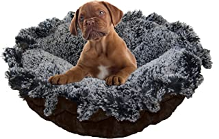 product image for BESSIE AND BARNIE Ultra Plush Midnight Frost/Godiva Brown Luxury Shag Deluxe Dog/Pet Cuddle Pod Bed