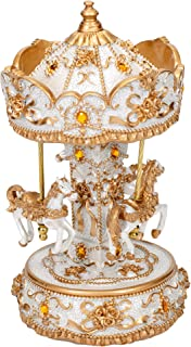 Elanze Designs Gilded Gold Tone Horses Musical Carousel 10 inch Rotating Figurine Plays Tune Carousel Waltz