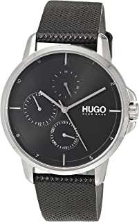 HUGO by Hugo Boss Men's Stainless Steel Quartz Watch with Leather Strap, Black, 20 (Model: 1530022)