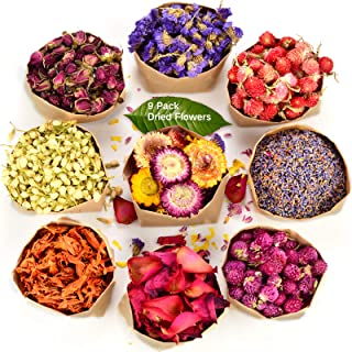 LAVEVE Dried Flowers, 100% Natural Dried Flowers and Herbs Kit for Resin, Soap Making, Candle Making, Bath Bombs with 9 Ba...