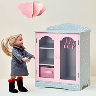Olivia's Little World - Princess 18 inch Doll Furniture | Fancy Wooden Closet with 3 Hangers and 1 Cubby (Grey Polka Dots) | Fits American Girls, Our Generation and More