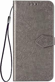zl one Kompatibel med/ersättning för telefonfodral Alcatel 3X 2019 PU-läder skyddskort fack plånbok flip fodral (grå)