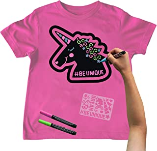 Chalk of the Town Unicorn Chalkboard T-Shirt Kit for Kids, Pink (Youth Medium)