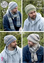King Cole Mens Chunky Knitting Pattern - Slouchy or Ribbed Hats & Scarf Winter Accessories (4608)