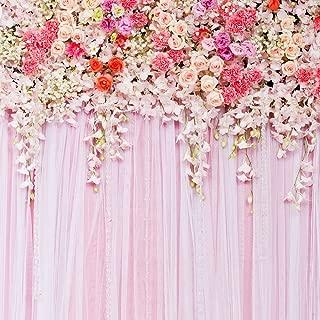 5x5ft Pink Flowers Backdrop Wedding Photography Background Studio Prop D-9192