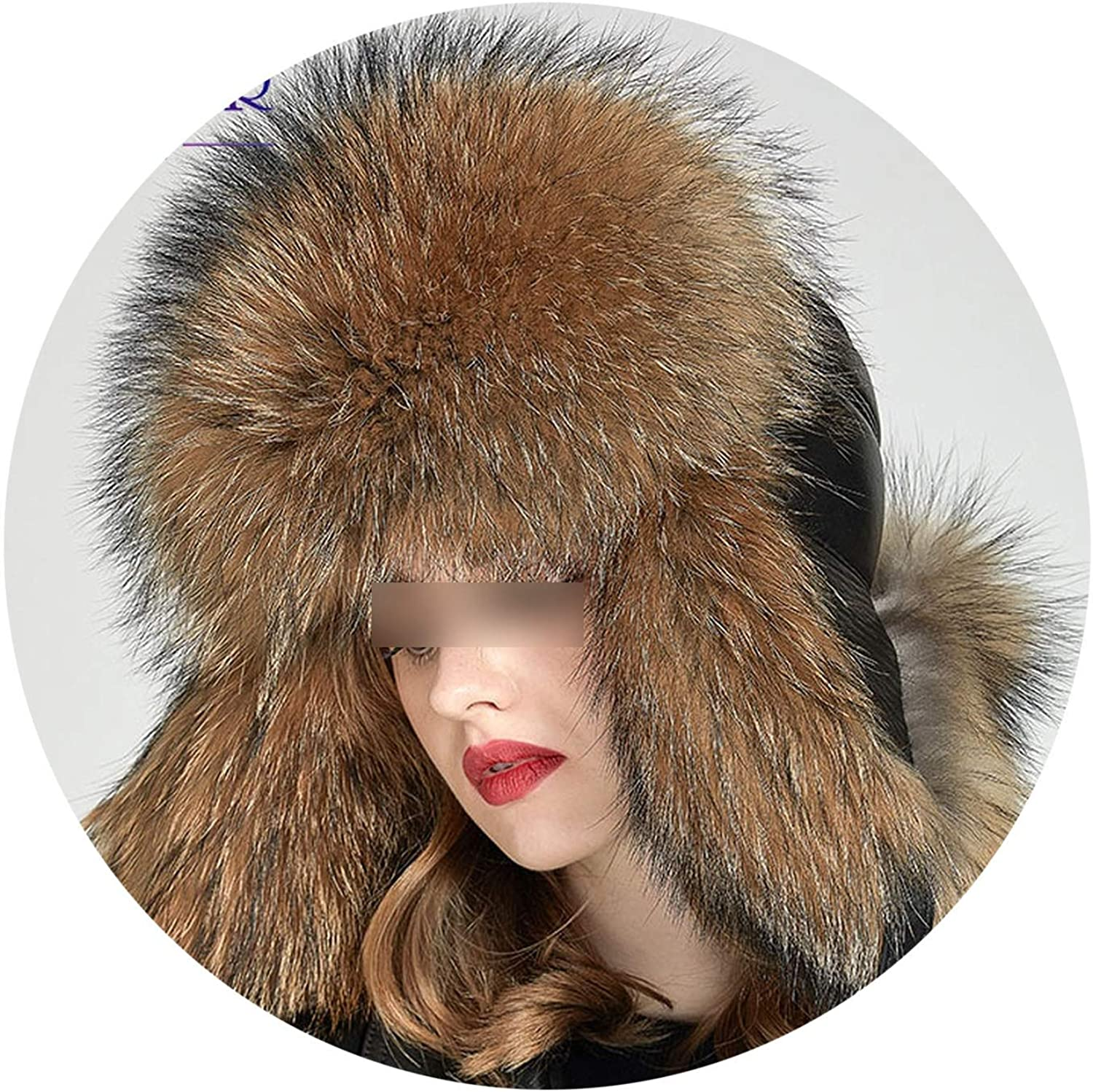 MTStyle Real Fox Fur Women Winter Hats Earflap Warm Fur Patchwork Genuine Leather Caps Female Thick Hats,H001,5860Cm