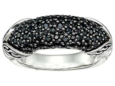 John Hardy Asli Classic Chain Link Silver Ring with Black Sapphire and Black Spinel (Black Sapphire) Ring