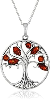 """Amber Sterling Silver Tree Pendant Necklace, 18"""""""