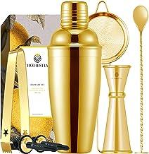 Homestia 3 Piece Cocktail Shaker Bar Set Stainless Steel Bartender Kit includes 23.5oz Built-in Strainer Shaker, Double Ji...