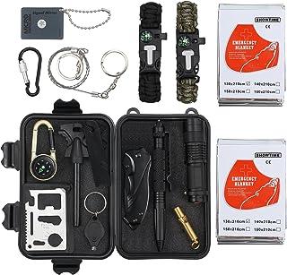 Proster Kit de Supervivencia 16 en 1 Equipo de Supervivencia de Bolsa de Herramientas con Manta de Emergencia y Multifuncional Bolsa de Supervivencia profecional para Viajar Caminar
