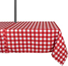DII 100% Polyester, Spill Proof, Machine Washable, Zipper Tablecloth for Outdoor Use with Umbrella Covered Tables, 60x84 Round, Red Check, Seats 6 to 8 People, w