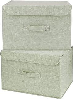 OJ Lot de 2 Boites de Rangement Lavable, Rangement de Vetement Pliables avec Couvercles, Caisse de Rangement en Tissu pour...