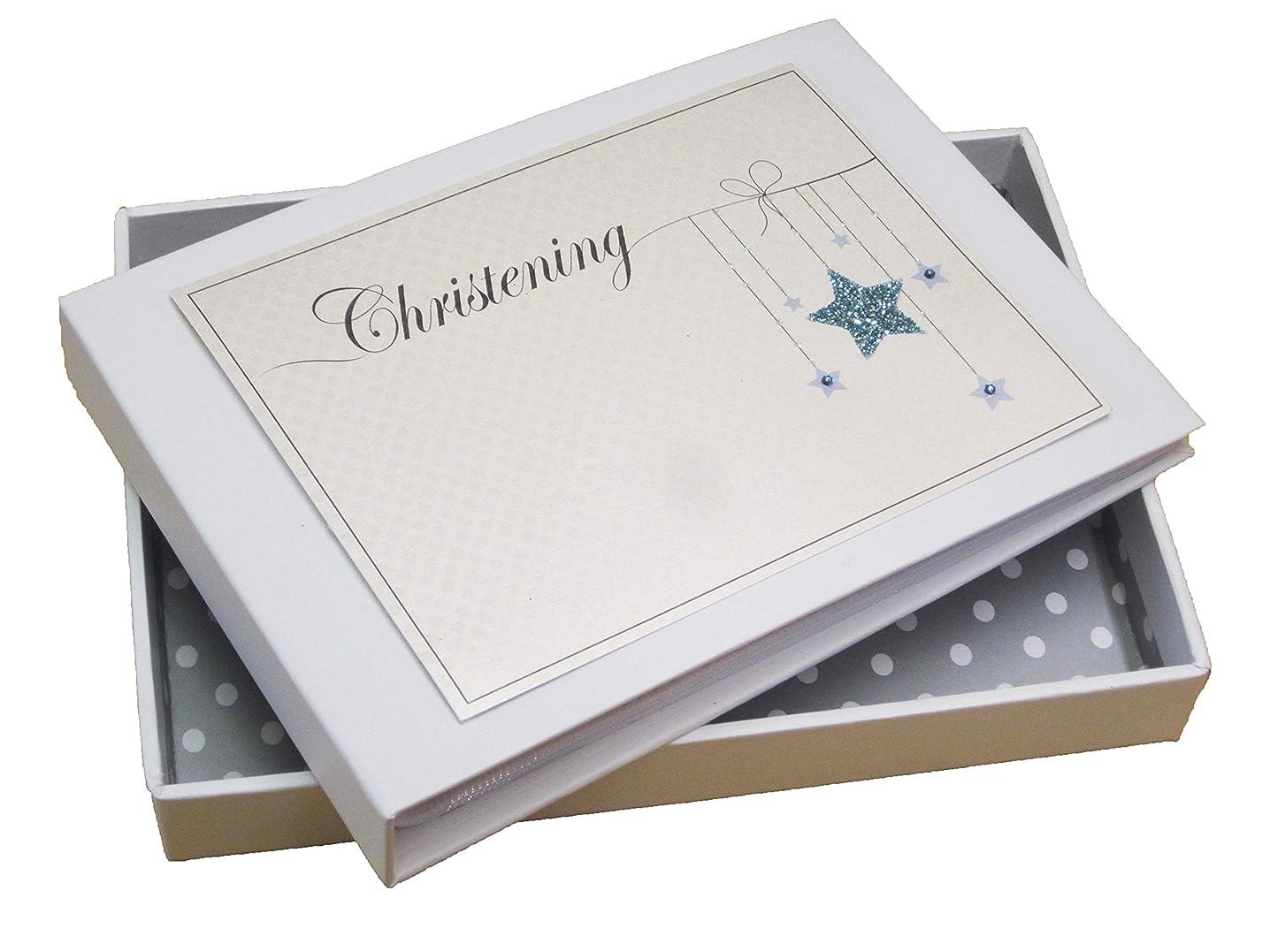 White Cotton Cards Christening Mini Photo Album, Blue Star (BCS1T)