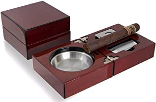 Mantello Cherry Wood Folding Cigar Ashtray Set with Jet Torch Cigar Lighter and Cigar Cutter