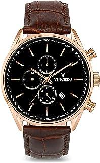 Vincero Luxury Men's Chrono S Wrist Watch - باند چرمی ایتالیایی Top Watch - 43mm Watch Chronograph - جنبش کوارتز ژاپنی