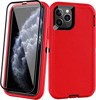 """AOPULY for iPhone 11 pro Case (5.8"""") with Tempered Glass, Heavy Duty Full Body Rugged Case (Red+Black)"""