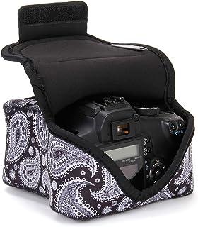 USA Gear Funda para Cámara DSLR con Protección de Neopreno Presilla para Cinturón y Almacenamiento de Accesorios - Compatible con Nikon D3400 Canon EOS Rebel SL2 Pentax K-70 y más - Paisley Negro