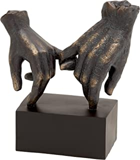 "Deco 79 58314 Large ""Pinky Swear"" Hands Statue on Block Base, Traditional Table Decor Hand Statues, Gifts For Best Friends, 9"" x 10"", Black & Bronze"