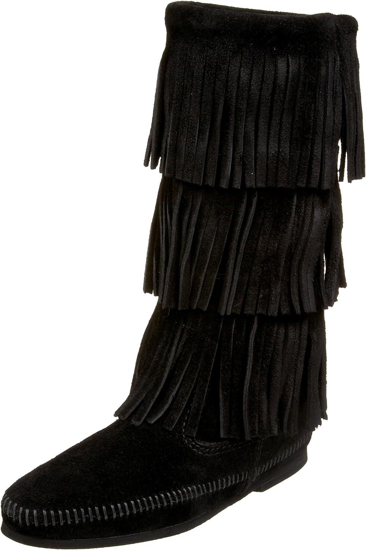 Minnetonka Women's Three-Layer Fringe Boot
