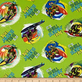 Fabric Green Teenage Mutant Ninja Turtles It's Shell Surfin' Time Yard