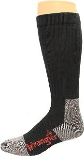 Wrangler Cotton Work Boot Sock Over the Calf 2 Pack, Black, W 10-12/M 8.5-10.5