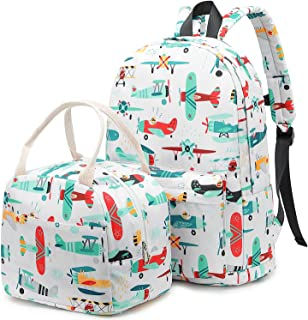 Backpack for Kids, CAMTOP Boys Preschool Backpack with Lunch Box Toddler Kindergarten School Bookbag Set (Y0032-2 Plane-Wh...
